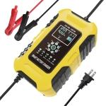 FOXSUR 10A 12V 7-segment Motorcycle / Car Smart Battery Charger, Plug Type:US Plug(Yellow)