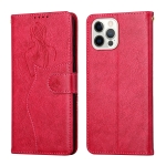 Beauty Girl Embossing Pattern Horizontal Flip Leather Case with Holder & Card Slot & Wallet & Photo Frame For iPhone 13 Pro Max(Red)