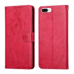 Beauty Girl Embossing Pattern Horizontal Flip Leather Case with Holder & Card Slot & Wallet & Photo Frame For iPhone 8 Plus / 7 Plus(Red)