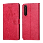 For Sony Xperia 1 II Beauty Girl Embossing Pattern Horizontal Flip Leather Case with Holder & Card Slot & Wallet & Photo Frame(Red)
