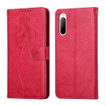 For Sony Xperia 10 III Beauty Girl Embossing Pattern Horizontal Flip Leather Case with Holder & Card Slot & Wallet & Photo Frame(Red)