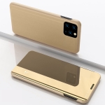 For Samsung Galaxy A22 5G Plated Mirror Horizontal Flip Leather Case with Holder(Gold)