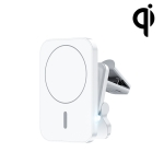 W-987 Magnetic Suction 15W Wireless Charger Car Air Outlet Bracket for iPhone 12 Series and other Smart Phones(White)