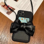 Fashionable Bowknot Crossbody Leather Card Bag Back Cover Case For iPhone 13(Black)
