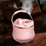 F08 Wired Water Replenishing Double Spray Humidifier LED Night Light Humidifier(Pink)