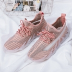 ZM-80 Women Breathable Casual Shoes Women Flying Weave Sports Shoes, Size: 36(Pink)