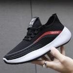 JZ-1 Breathable Men Shoes Flying Weaving Soft Sole Sports Shoes, Size: 39(Black)