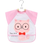 2 PCS Baby Eating Gown Children Waterproof Apron, Colour: Sleeveless Pink Cat(90cm)