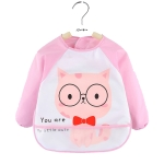 2 PCS Baby Eating Gown Children Waterproof Apron, Colour: Long-sleeved Pink Cat(100cm)