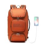 Ozuko 9248 Fashion Rivet Business Laptop Backpack Student Sports School Bag with External USB Port(Orange)