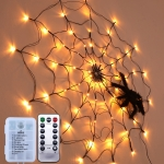 LED Spider Web Lamp with Remote Control Halloween Atmosphere Decoration Props, Power: Battery Box