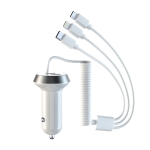 R3XK 1 In 3 Digital Display Car Charger QC3.0 Fast Charging Multifunctional Cigarette Lighter, Model: 17w(White)