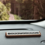 Oatsbasf 03187 Temporary Parking Phone Number Card Car Solid Wood Number Card(Coffee Black)