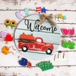 Wooden Door Hanging Festive Greeting Card Christmas Decorations(Red Car)