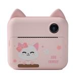 P1 Children Camera Printer Digital Toys Pocket Student Homework Mistakes Collections Printer, Style: Pink Cat