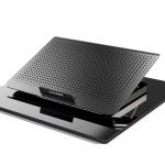 ICE COOREL Laptop Aluminum Alloy Radiator Fan Silent Notebook Cooling Bracket, Colour: Six-Fan Tungsten Gold Black