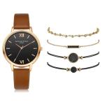 LVPAI XR3795 Ladies PU Strap Alloy Quartz Watch + Bracelet Set(Brown)
