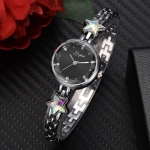Lvpai P866 Diamond Five-Pointed Star Bracelet Watch Ladies Alloy Quartz Watches(Silver Black)