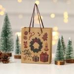 12 PCS Christmas Gift Bag Kraft Paper Children Tote Bag(Wreath)