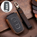 Hallmo Car Cowhide Leather Key Protective Cover Key Case for KIA K2 / K3 / K5 3-button (Black)