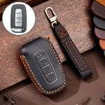 Hallmo Car Cowhide Leather Key Protective Cover Key Case for KIA K2 / K3 / K5 4-button (Black)