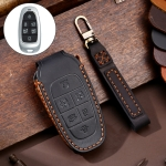 Hallmo Car Cowhide Leather Key Protective Cover Key Case for Hyundai 6-button (Black)