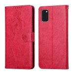 For Samsung Galaxy A41 Beauty Girl Embossing Pattern Horizontal Flip Leather Case with Holder & Card Slot & Wallet & Photo Frame(Red)