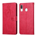 For Samsung Galaxy A40 Beauty Girl Embossing Pattern Horizontal Flip Leather Case with Holder & Card Slot & Wallet & Photo Frame(Red)