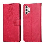 For Samsung Galaxy A32 4G Beauty Girl Embossing Pattern Horizontal Flip Leather Case with Holder & Card Slot & Wallet & Photo Frame(Red)