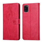 For Samsung Galaxy A31 Beauty Girl Embossing Pattern Horizontal Flip Leather Case with Holder & Card Slot & Wallet & Photo Frame(Red)
