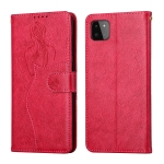 For Samsung Galaxy A22 5G Beauty Girl Embossing Pattern Horizontal Flip Leather Case with Holder & Card Slot & Wallet & Photo Frame(Red)
