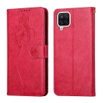 For Samsung Galaxy A12 Beauty Girl Embossing Pattern Horizontal Flip Leather Case with Holder & Card Slot & Wallet & Photo Frame(Red)