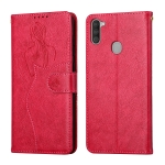 For Samsung Galaxy A11 Beauty Girl Embossing Pattern Horizontal Flip Leather Case with Holder & Card Slot & Wallet & Photo Frame(Red)