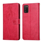For Samsung Galaxy A02s EU Version Beauty Girl Embossing Pattern Horizontal Flip Leather Case with Holder & Card Slot & Wallet & Photo Frame(Red)