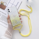 Gradient Glitter Powder Epoxy TPU Thickened Acrylic Shockproof Case with Round Neck Lanyard For iPhone 13(Yellow)