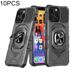 10 PCS Union Armor Magnetic PC + TPU Shockproof Case with 360 Degree Rotation Ring Holder For iPhone 13 Pro(Black)