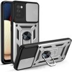 For Samsung Galaxy A02s Sliding Camera Cover Design TPU+PC Protective Case(Silver)