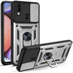 For Samsung Galaxy A10s Sliding Camera Cover Design TPU+PC Protective Case(Silver)