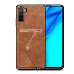 For Huawei Mate 40 Lite Litchi Texture Silicone + PC + PU Leather Back Cover Shockproof Case with Card Slot(Brown)