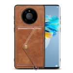 For Huawei Mate 40 Pro Litchi Texture Silicone + PC + PU Leather Back Cover Shockproof Case with Card Slot(Brown)