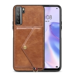 For Huawei nova 7 SE Litchi Texture Silicone + PC + PU Leather Back Cover Shockproof Case with Card Slot(Brown)
