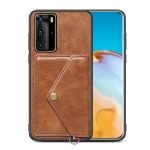 For Huawei P40 Pro Litchi Texture Silicone + PC + PU Leather Back Cover Shockproof Case with Card Slot(Brown)