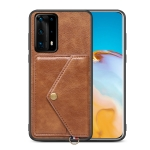 For Huawei P40 Pro+ Litchi Texture Silicone + PC + PU Leather Back Cover Shockproof Case with Card Slot(Brown)