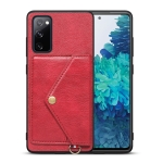For Samsung Galaxy S20 FE Litchi Texture Silicone + PC + PU Leather Back Cover Shockproof Case with Card Slot(Red)