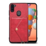 For Samsung Galaxy A11 / M11 Litchi Texture Silicone + PC + PU Leather Back Cover Shockproof Case with Card Slot(Red)