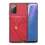 For Samsung Galaxy Note20 Litchi Texture Silicone + PC + PU Leather Back Cover Shockproof Case with Card Slot(Red)