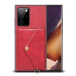 For Samsung Galaxy Note20 Ultra Litchi Texture Silicone + PC + PU Leather Back Cover Shockproof Case with Card Slot(Red)