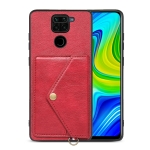 For Xiaomi Redmi Note 9 Litchi Texture Silicone + PC + PU Leather Back Cover Shockproof Case with Card Slot(Red)
