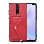For Xiaomi Redmi K30 Litchi Texture Silicone + PC + PU Leather Back Cover Shockproof Case with Card Slot(Red)