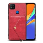 For Xiaomi Redmi 9C Litchi Texture Silicone + PC + PU Leather Back Cover Shockproof Case with Card Slot(Red)
